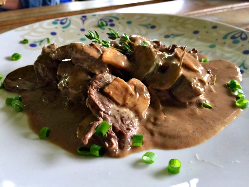 Tasty and tender Beef Stroganoff from Fanny's Terrace Bistro.