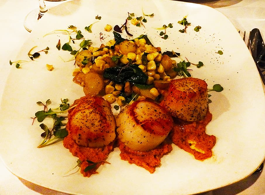 Maine Diver Scallops with pancetta corn hash and romesco sauce at Joy Bistro, Boone, NC