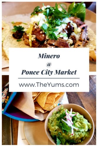 Delicious tacos al pastor and homemade guacamole served at the Ponce City Market location of Minero.