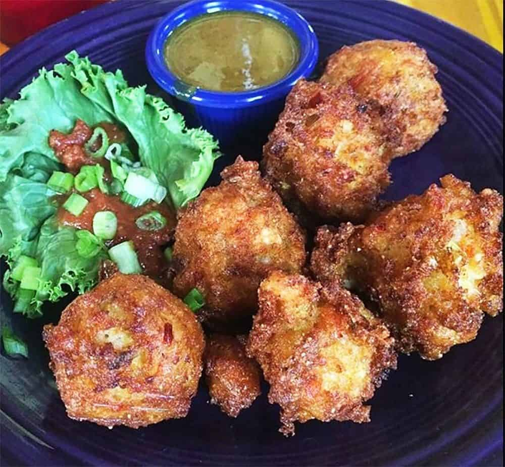Lightly fried Cayman Conch Fritters at Tortuga's Lie--good as you'd find in the Caribbean.