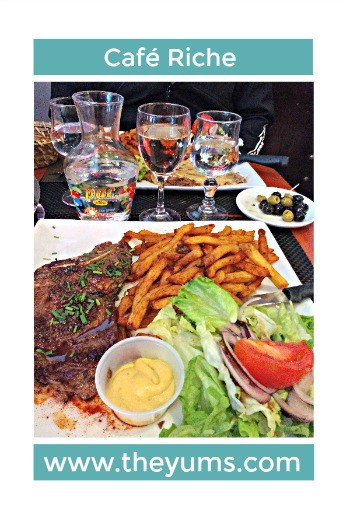 A review of Café Riche in Montpelier, France. Be sure to try the steak frites. #restaurants #france #fromtheyums