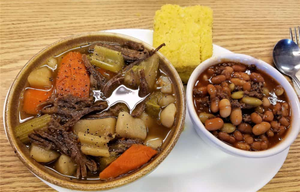 buffalo pot roast cowboy beans and cornbread
