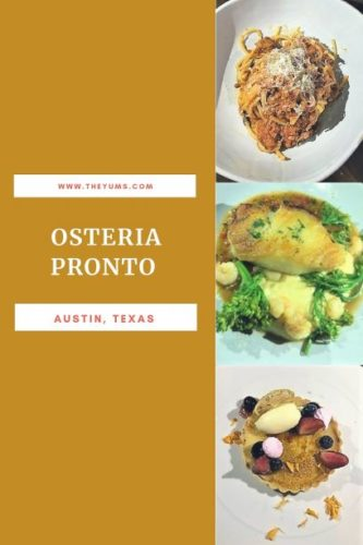 Bucantini Bolognese, Chilean Sea Bass, and Lemon Tart at Osteria Pronto in Austin, Texas