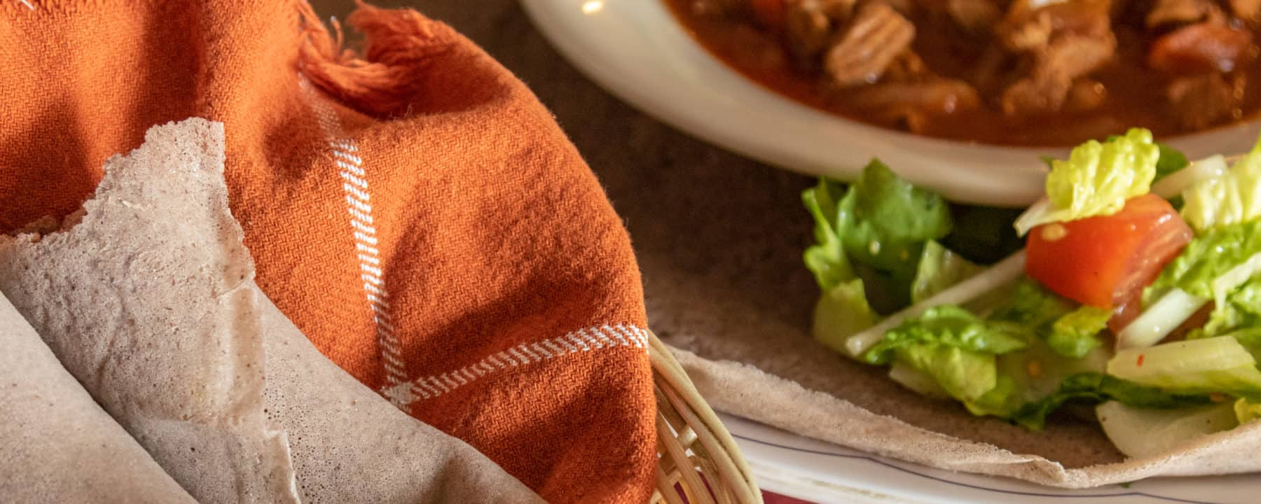 Injera lamb at Abyssinia restaurant in Anaheim, California.
