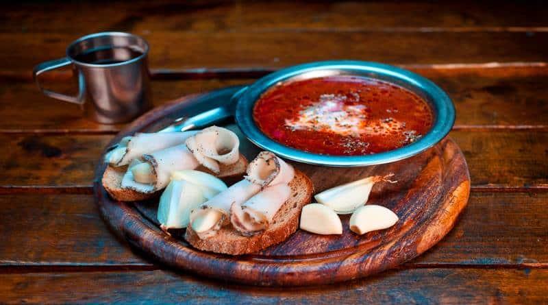 borscht in ukrainian restaurant