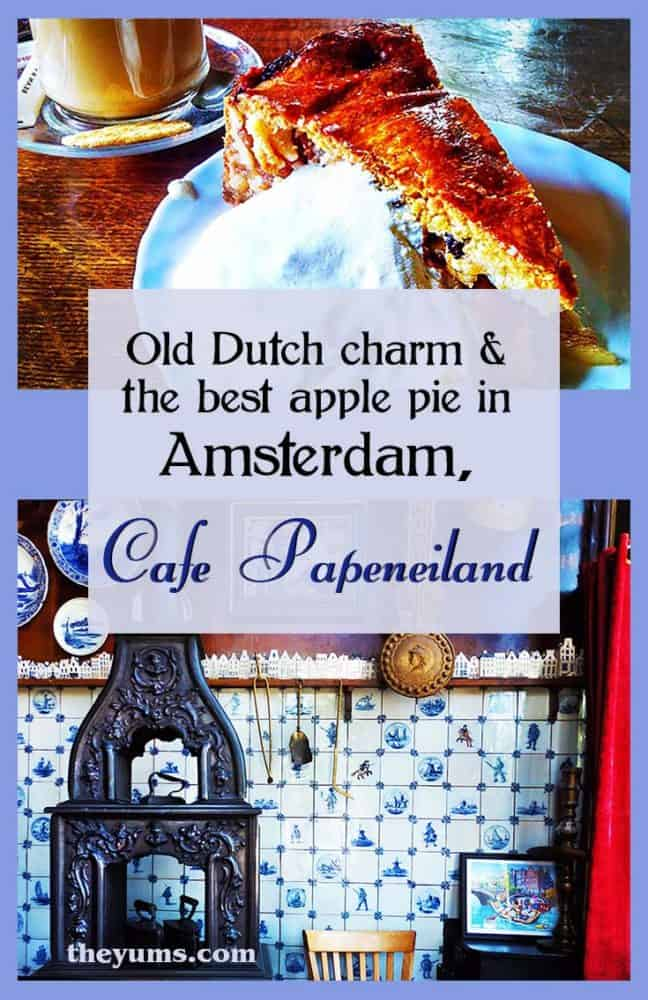 Pin this image of the Cafe Papeneiland, one of the oldest brown cafes in Amsterdam, with some of the best Dutch apple pie in town.