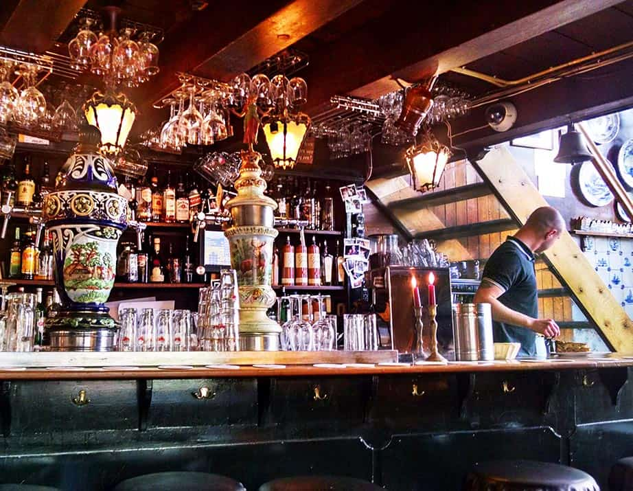 The antique bar at Cafe Papeneiland, in Amsterdam, complete with its antique ceramic beer taps.