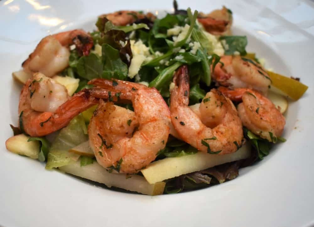 Salad with apples and grilled shrimp added at Clyde's in Georgetown