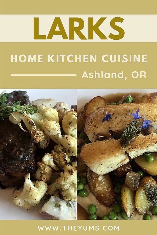 Two menus items at Larks Home Kitchen in Ashland, Oregon.