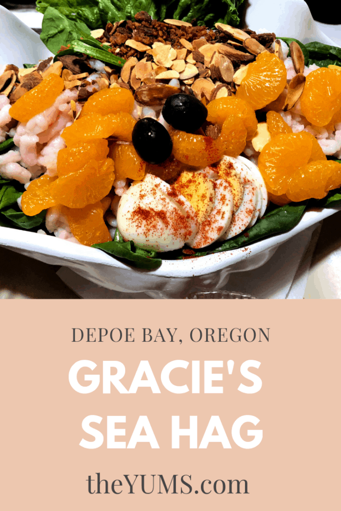 A shrimp salad with hardboiled eggs and oranges at Gracies Sea Hag restaurant in Depoe Bay Oregon