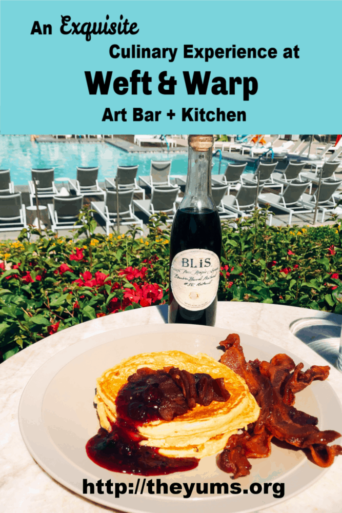 Breakfast of pancakes with caramelized apples and berry compote as we overlook the turquoise pool at Weft & Warp in Scottsdale, Arizona.