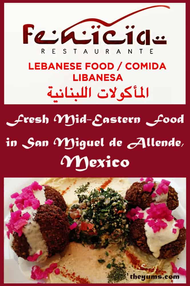 Pin image for Fenicia Restaurant in San Miguel de Allende, Mexico, showing a plate of falafels topped with bright pink chopped onion and tabbouleh on a bed of hummus.