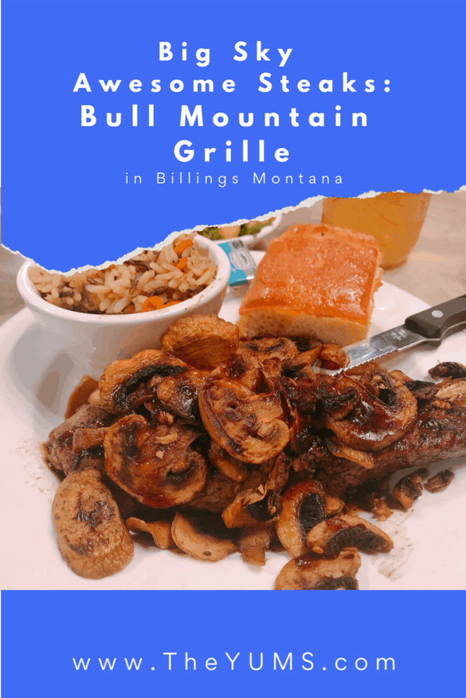 Delicious Renegade Sirloin steak covered with sauteed mushrooms at Bull Mountain Grille in Billings, Montana. #fromtheyums #foodie  #restaurant #Montana, #bmgrille #bullmountaingrille #steak
