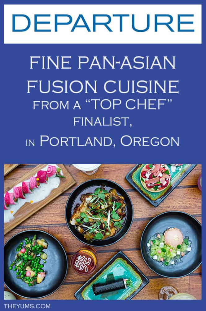 Pin this image of some of the dishes in the Chef's Tasting Menu at Departure Restaurant, at the top of The Nines Hotel, in downtown Portland, Oregon.