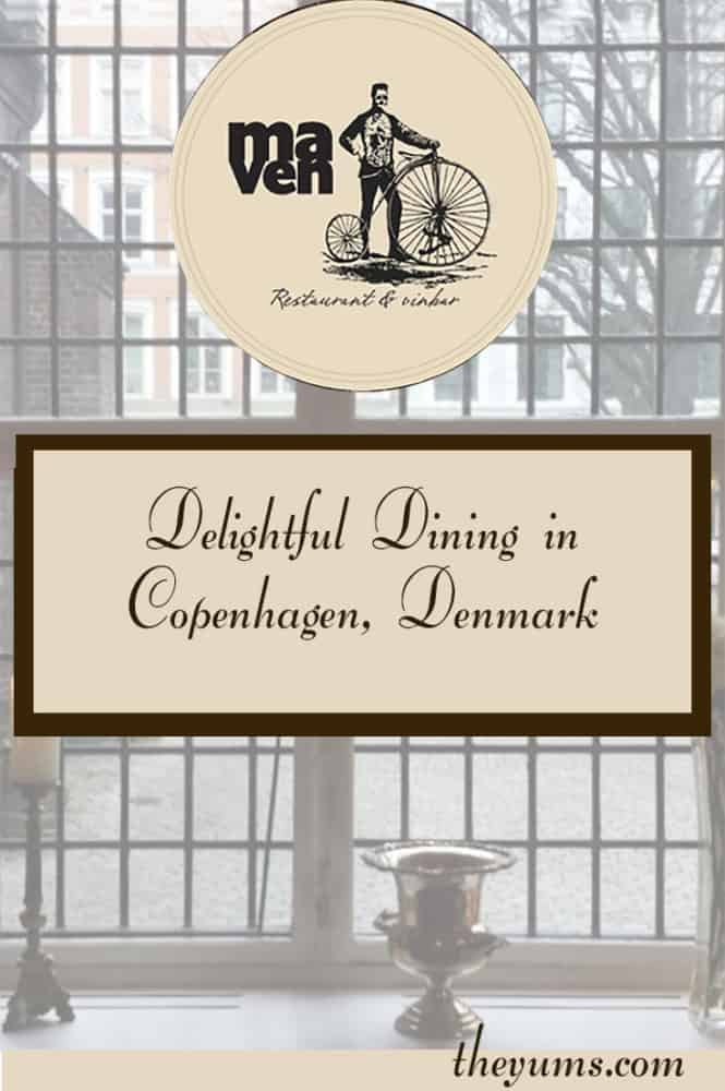A multi-paned leaded window of Restaurant Maven & Vinbar in Copenhagen, Denmark, is the perfect backdrop for the wonderful Nordic cuisine that comes from its kitchen, based on fresh, seasonal ingredients.