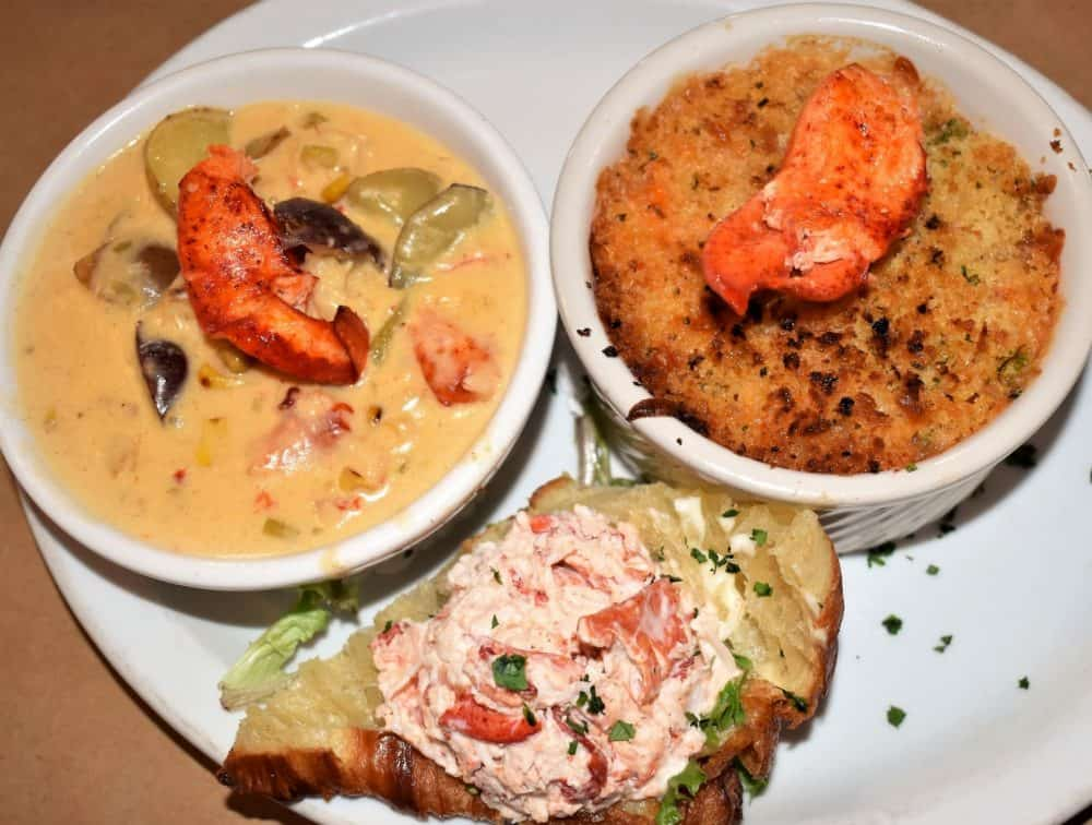 Lobster chowder, lobster mac and cheese, and a lobster croissant at Fo'c'sle Tavern in Chester, Nova Scotia