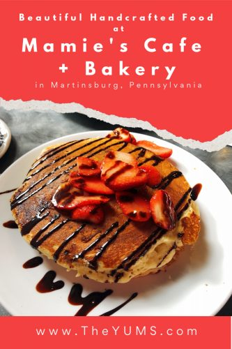 Breakfast at Mamie's Cafe and Bakery is a delicious start to your day. Check out the Chocolate Strawberry Pancakes. #fromtheyums #foodie #restaurant #Pennsylvania