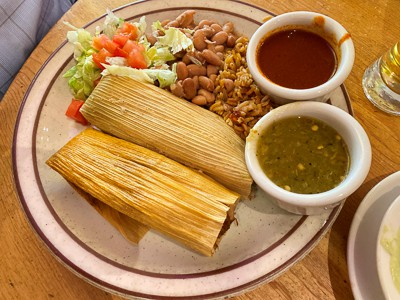 tamales and beans at the shed restaurant in santa fe, new mexico