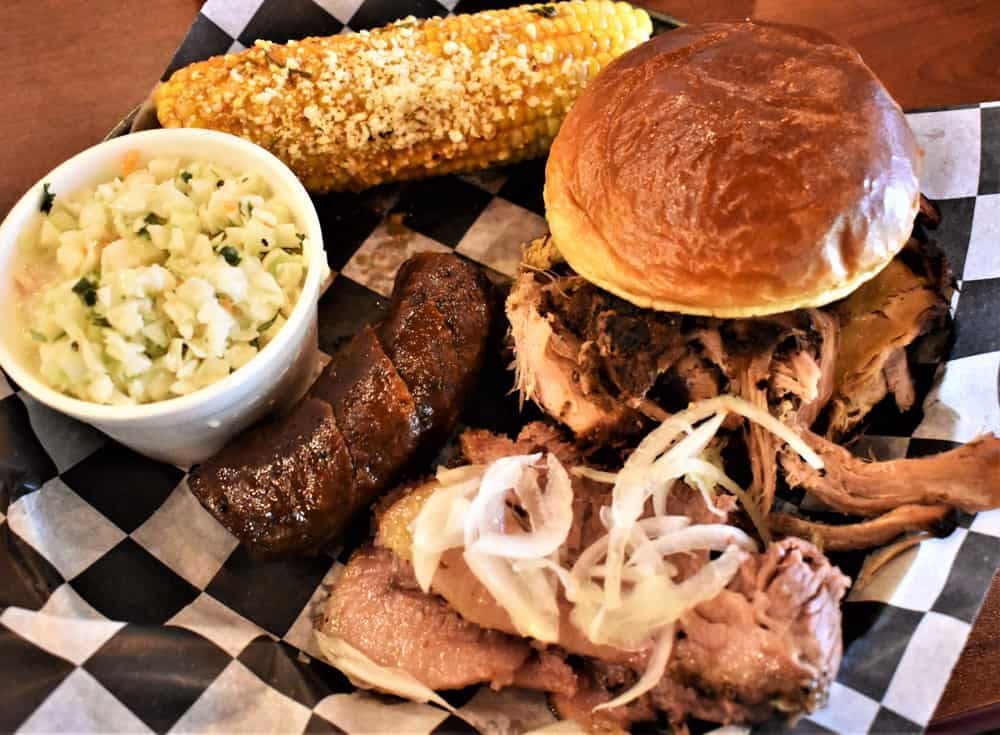 BBQ Combo Plate with Street Corn from Rusted Silo Southern BBQ & Brew House in Lizton, Indiana
